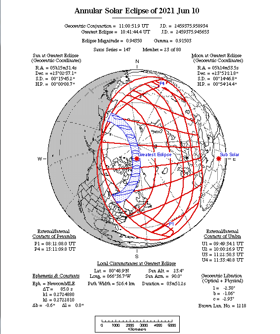 Annular Solar Eclipse Map 2021-6-10