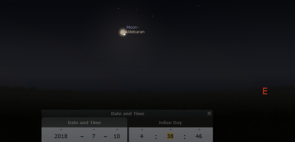 Moon and Aldebaran finder chart