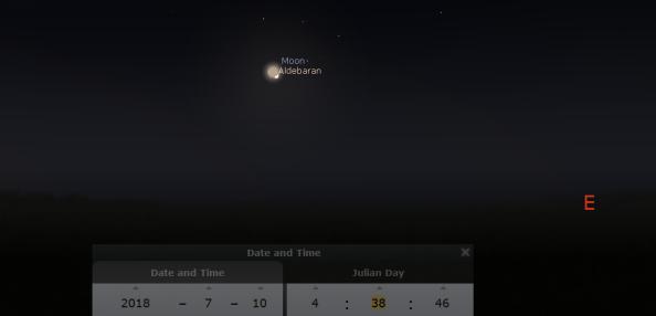 Moon and Aldebaran finder chart