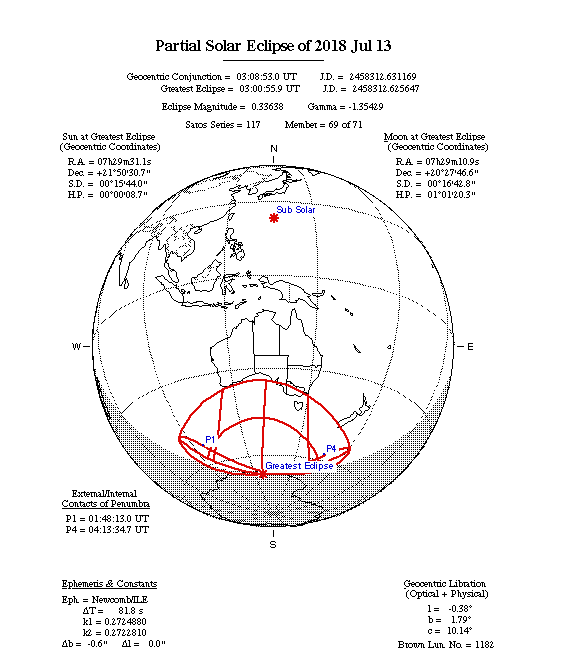 Partial Solar Eclipse Map 2018-07-13