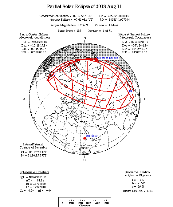 Partial Solar Eclipse Map 2018-08-11