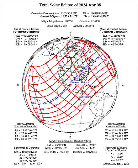 Total Solar Eclipse Map 2024-04-08