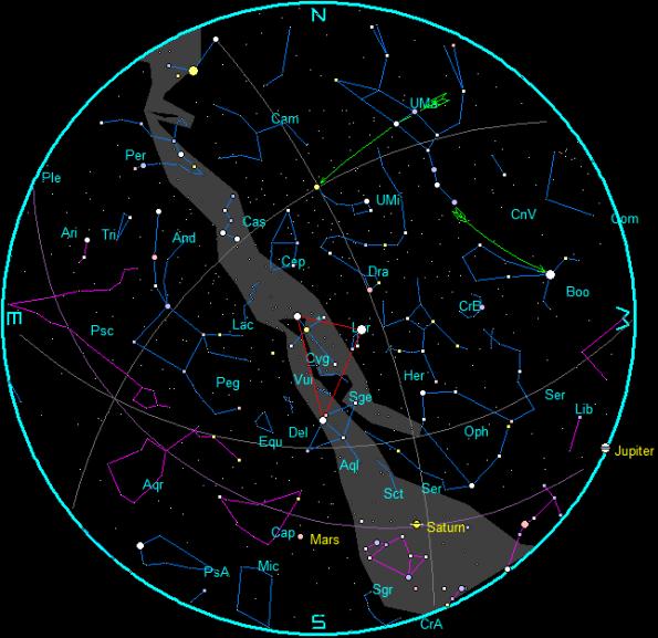 September evening star chart