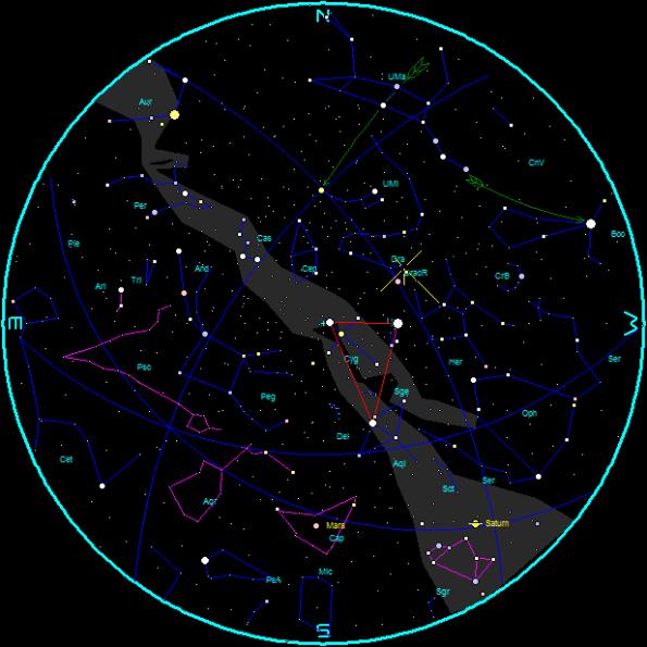 October evening star chart