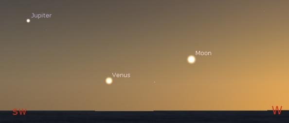Venus, Moon and Jupiter
