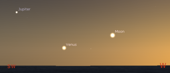 Venus, Moon and Jupiter