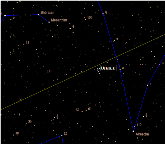 Narrow view of Uranus finder chart