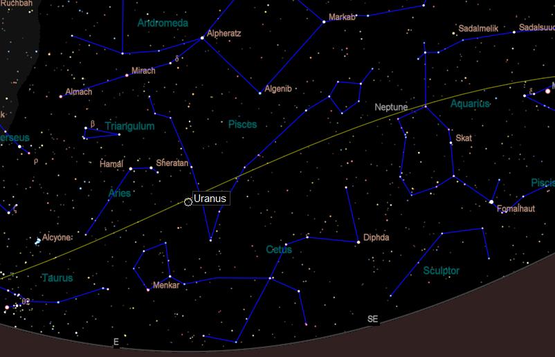 Wide view of Uranus finder chart