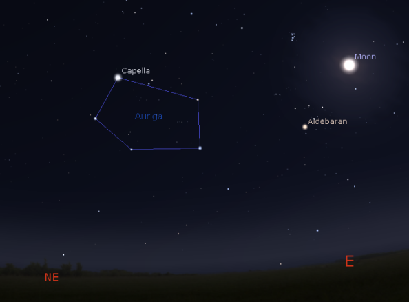 Capella with the stars of Auriga and the full Moon