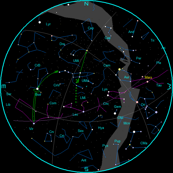 April Evening Star Chart