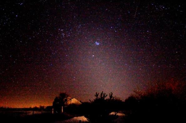 Pleiades, Mars, zodiacal light