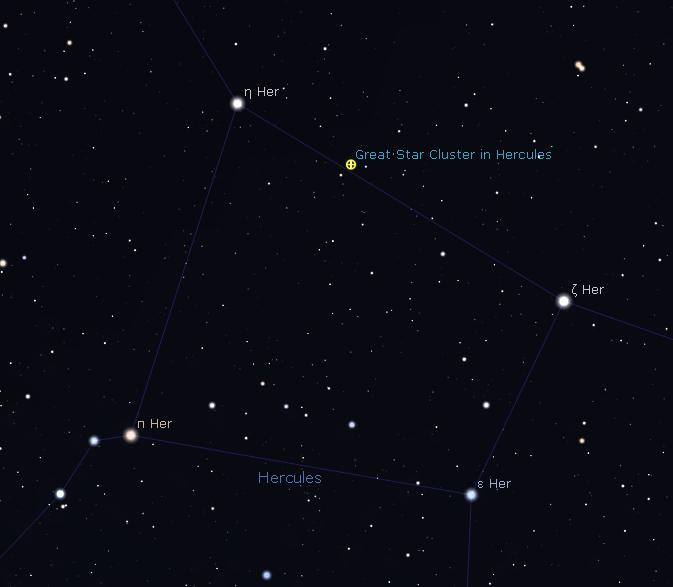 Stars and M13 visuble in Binoculars in the Keystone of Hercules
