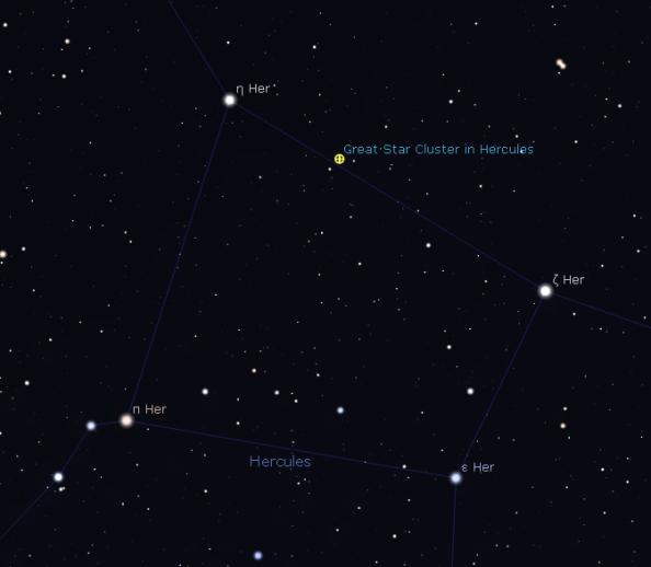 Stars and M13 vusuble in Binoculars in the Keystone of Hercules