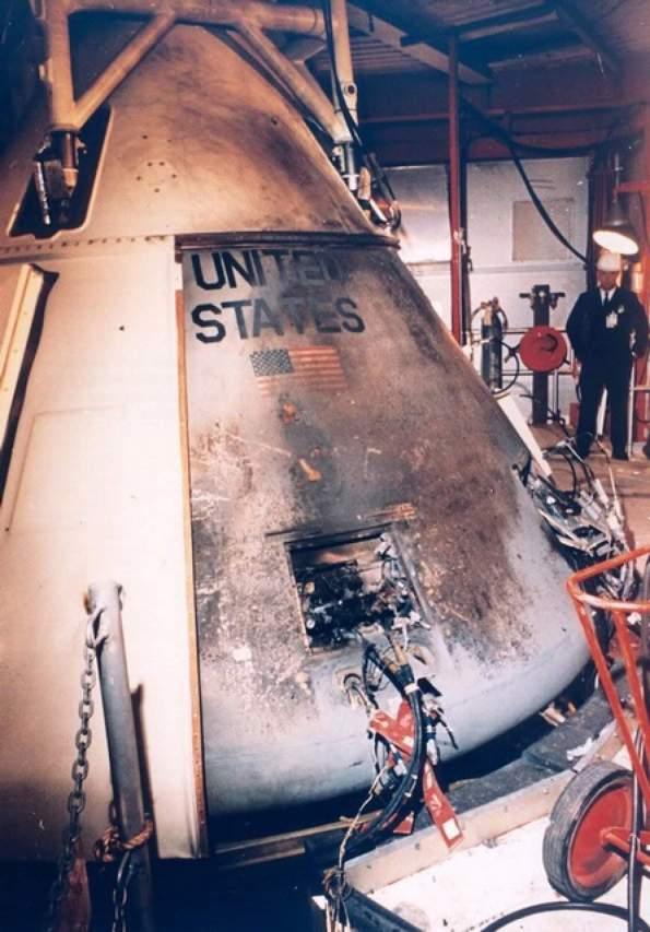 Apollo 1 spacecraft after the fire