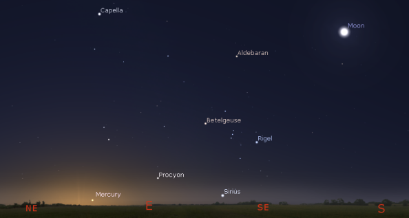 Moon, Mercury and bright stars in the morning twilight