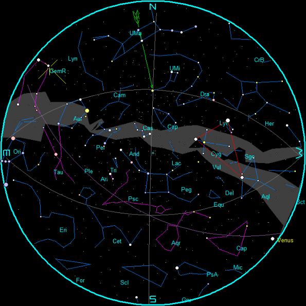 December Evening Star Chart