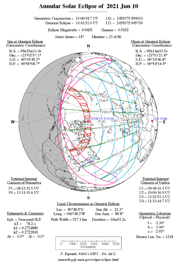 Eclipse map for the June 10, 2021 Annular Eclipse
