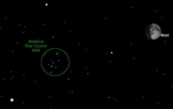 Moon and Beehive Star Cluster