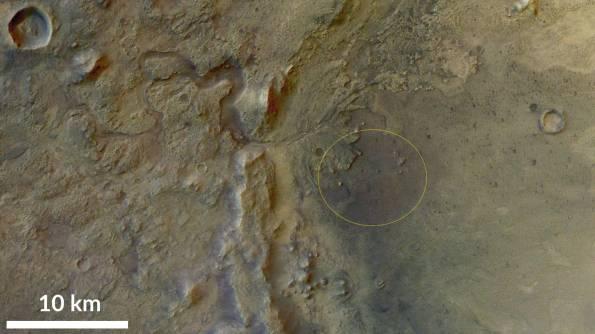 Mars Endurance Rover's planned landing ellipse