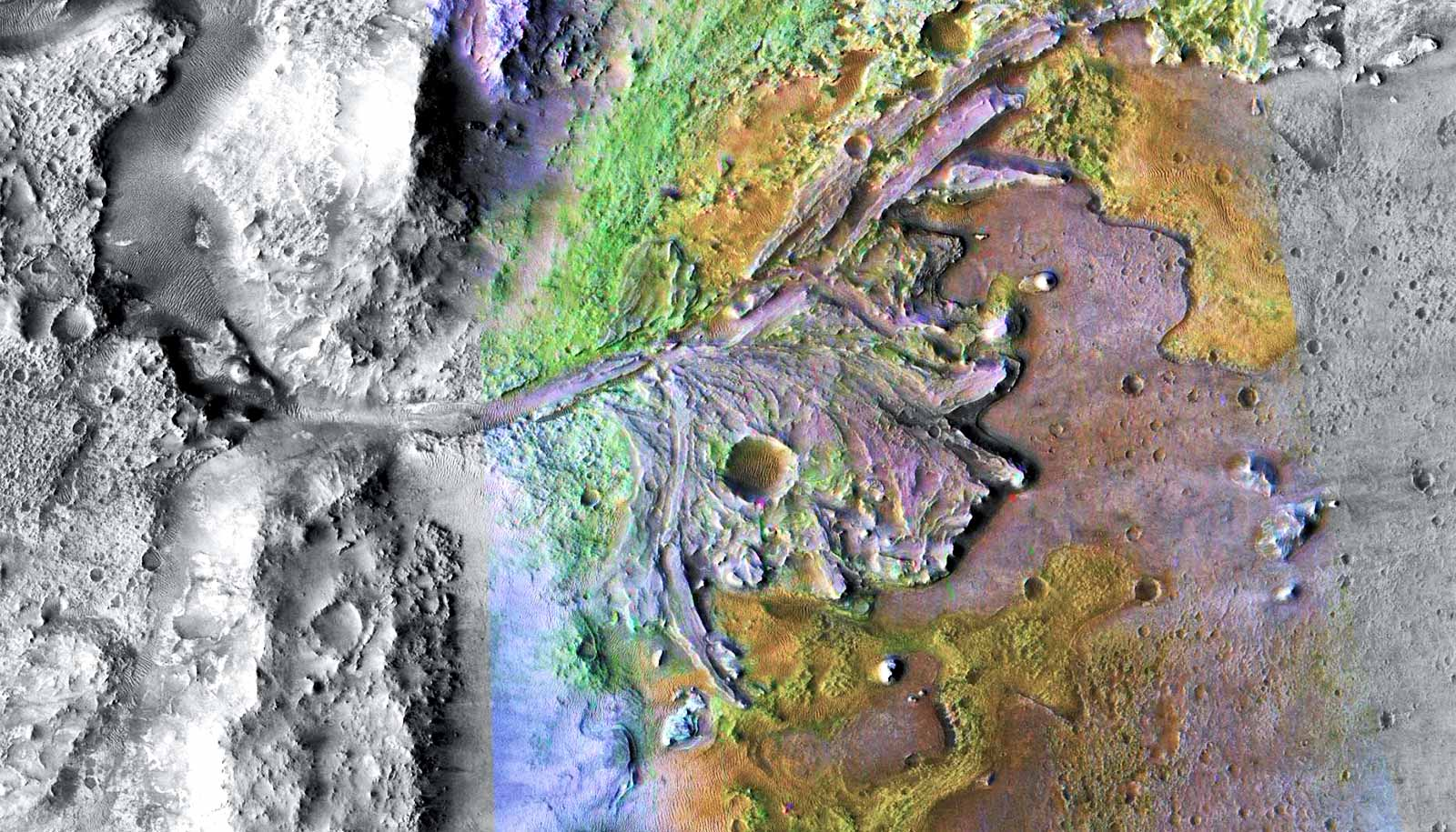 Ancient delta flowing into