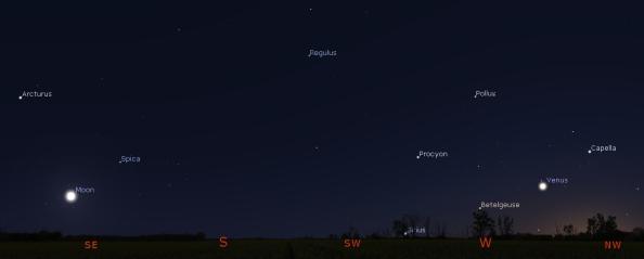 Venus, the Moon and bright evening stars