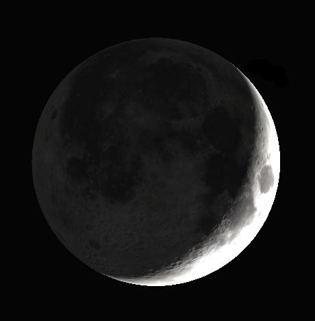 The Moon as seen through binoculars or small telescope