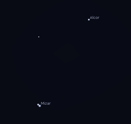 Mizar and Alcor as they would appear in a telescope