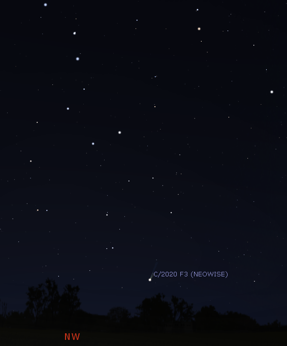 Comet NEOWISE in the evening