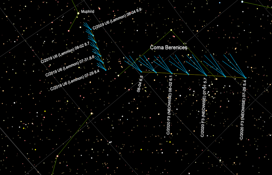 Comets NEOWISE and Lemmon at 11 pm for the week