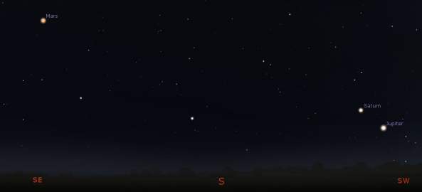 Mars, Saturn and Jupiter in the morning