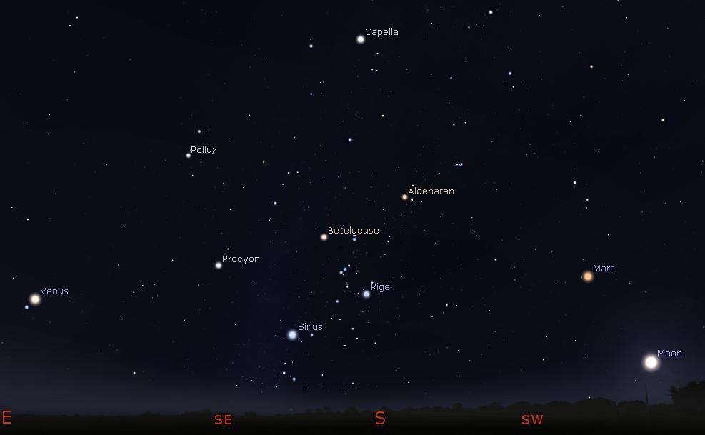 Venus Mars Moon and the stars of winter