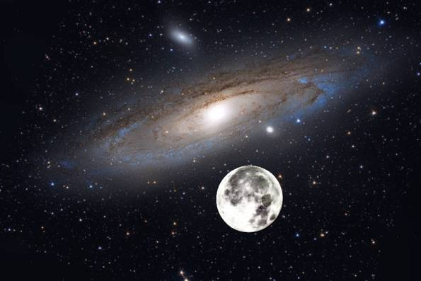 The moon superimposed on M31 for apparent size comparison