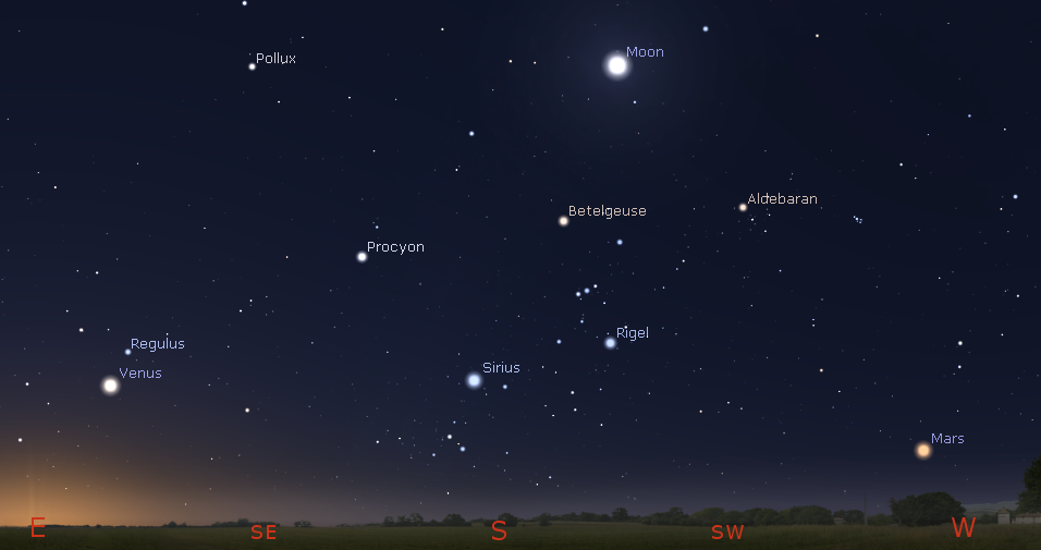 Planets and the Moon among the winter stars in the morning