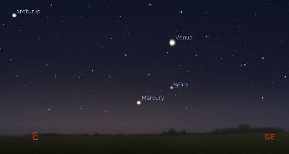 Mercury and Venus in the morning at 6:30 am