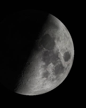 Binocular or low power telescope view of the first quarter Moon