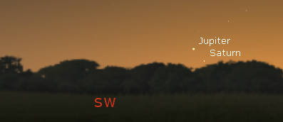 Jupiter and Saturn in the twilight