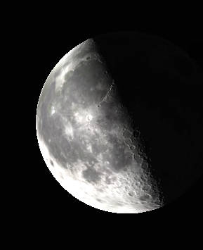 Binocular Moon at last quarter.