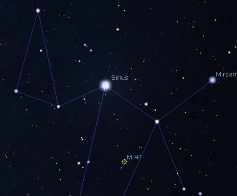 Star cluster M 41 finder Chart