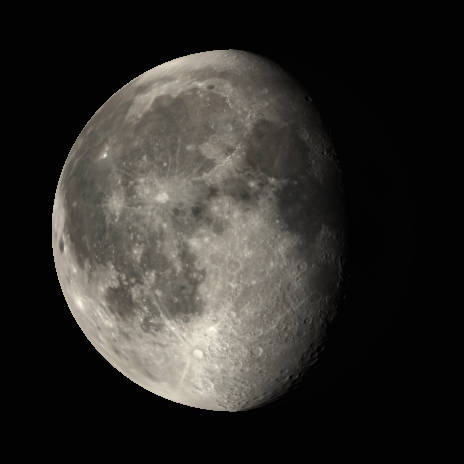 The waning gibbous Moon as it might appear in a small telescope or binoculars