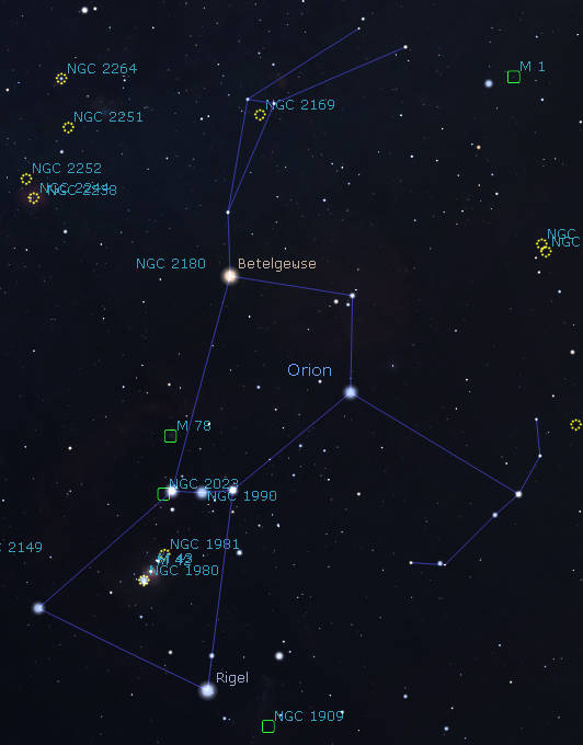 Orion as shown in the evening