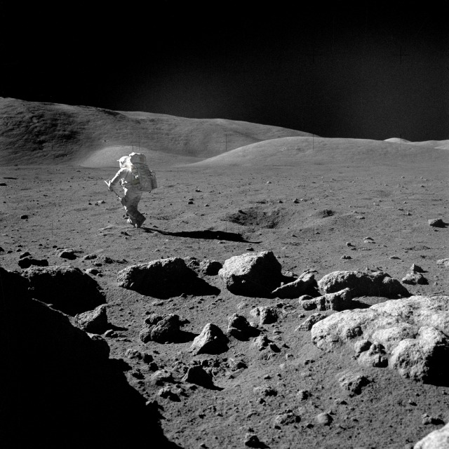 Image from Apollo 17 showing lunar erosion