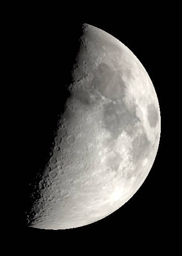 First Quarter Moon with binoculars or low power telescope