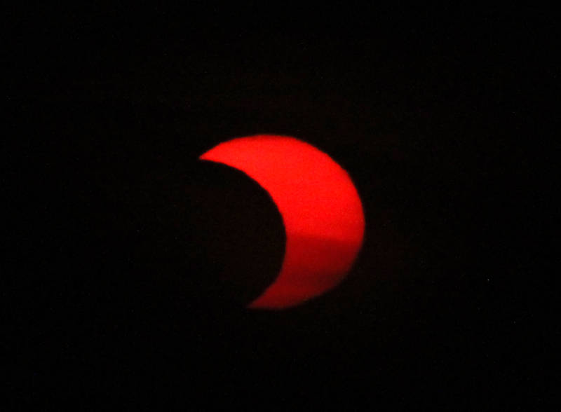 The partially eclipsed Sun this morning