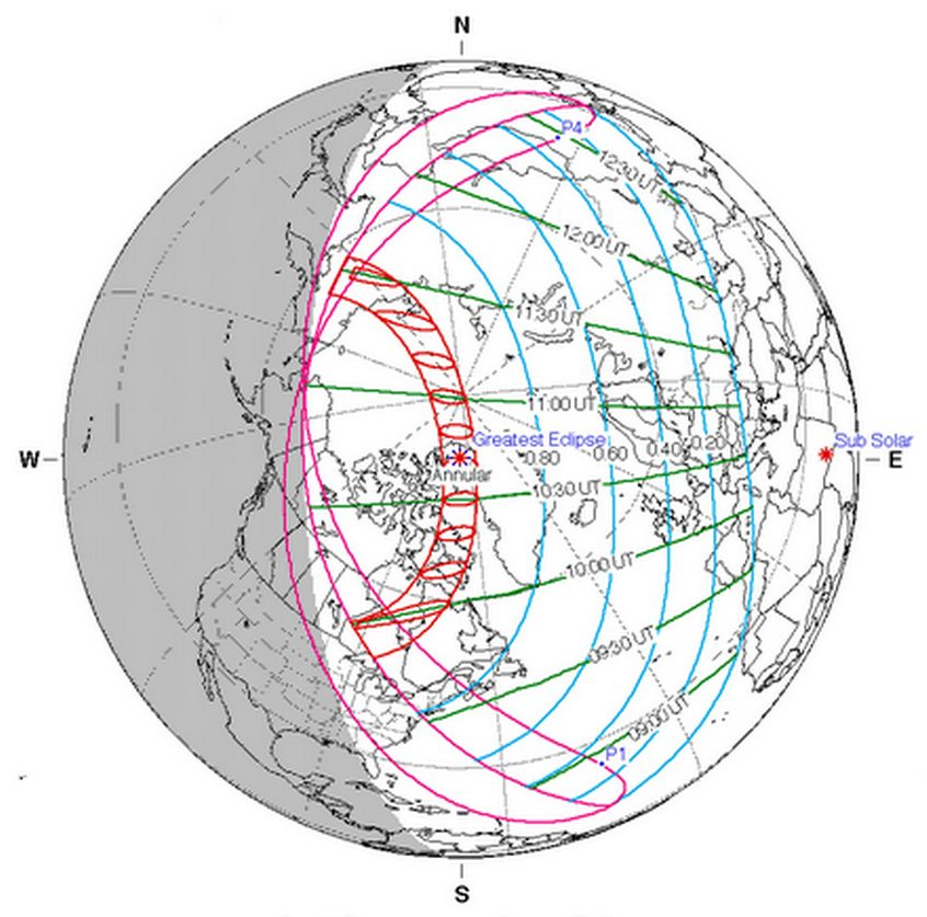 The visibility map for the June 10, 2021 annular solar eclipse