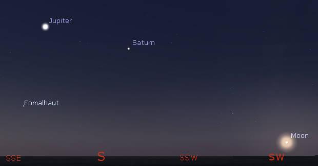 Jupiter, Saturn and the Moon tomorrow morning