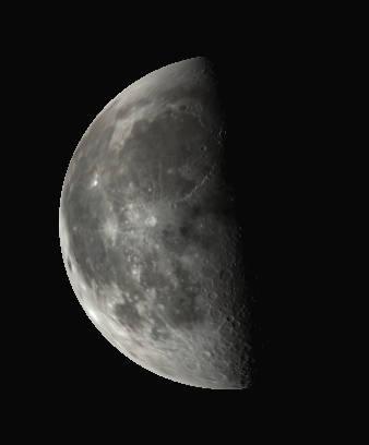 Binocular Moon at last quarter