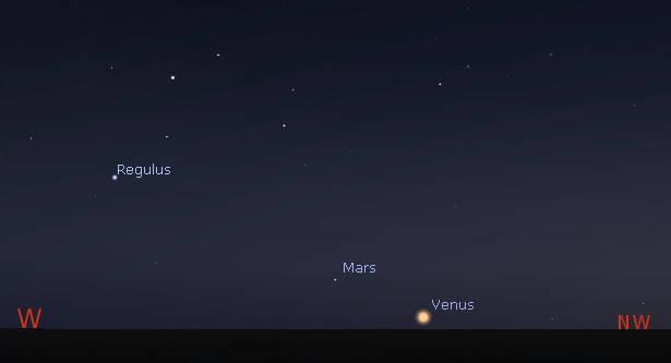 Mars with Venus setting at 11 pm