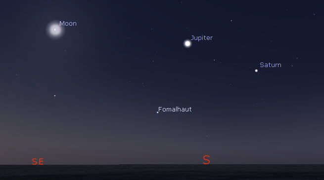 Saturn, Jupiter and the Moon in morning twilight