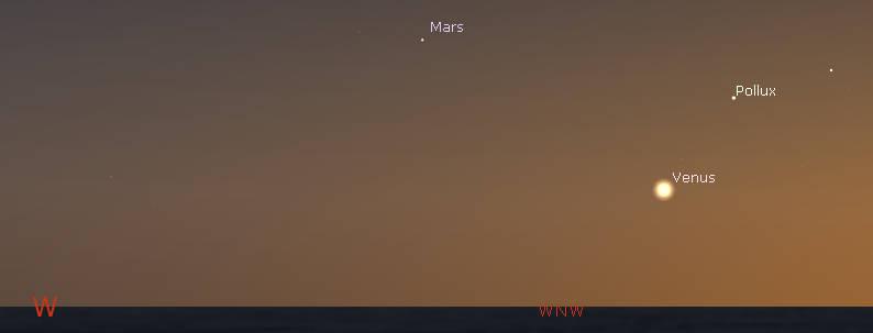 Venus and Pollux in evening twilight