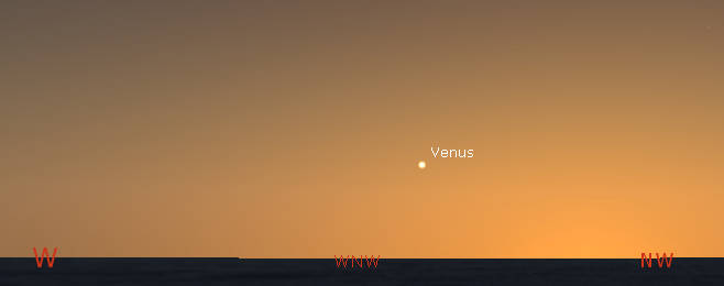Venus on a flat lake horizon at 10 pm